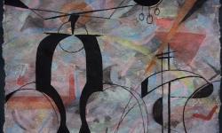 04 in den hochspannungsTrassen, 2017, Tusche auf aquarelliertem handgeschöpften Bütten, 25 x 33 cm