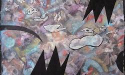 05 himmelgewimmel über europa, 2017, Tusche auf aquarelliertem handgeschöpften Bütten, 25 x 33 cm