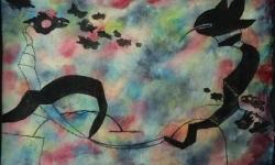 08 fliegergeschwader, teuflisch, 2018, Tusche auf aquarelliertem Japanpapier, 25 x 33 cm