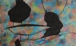 09  drahtseilakte, tierisch, 2018, Tusche auf aquarelliertem Japanpapier, 25 x 33 cm