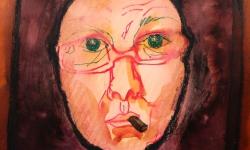 1 selbst als nonne, 2017, Beize, Tusche auf Papier, 30 x 30 cm