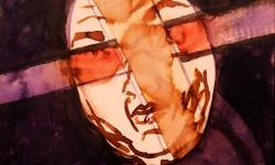 3 selbst im blindflug, 2017, Beize, Tusche auf Papier, 30 x 30 cm