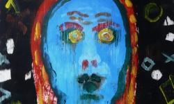 5 selbst als bitch, 2017, Beize, Tusche auf Papier, 30 x 30 cm