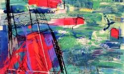 champ du mars, 1990, Acryl, Kreide auf Büttenkarton, 140 x 100 cm