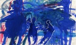 les morts d'accident, 1992, Acryl, Kreide auf Büttenkarton, 100 x 140 cm