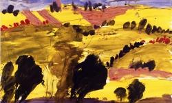 gewitterstimmung über den marken, 1990, Acryl auf Büttenkarton, 100 x 140  cm