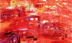 la ville en rouge, 1990, Acryl, Kreide auf Büttenkarton, 100 x 140 cm