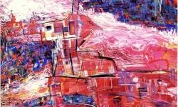 styx, brennender fluss, 1990, Acryl auf Büttenkarton, 100 x 140 cm