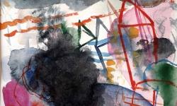 1 ausschreitung im anderswo (mölln), 2006, Aquarell, 50 x70 cm