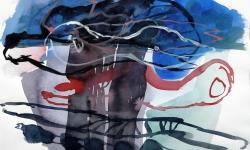 6 rauchsäule (rostock), 2000, Aquarell, 50 x70 cm