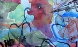 3 marktschreier, 2000, Aquarell, 50 x 70 cm