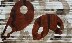 8 flugmonster, 2014, Mischtechnik Acryl/Aquarell auf Bütten, 35 x 50 cm