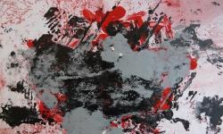 1 turbulenz im unendlichen, 2014, Monotypie über Lackskin auf Bütten, 20 x 30 cm