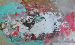 3 atmosphaerische störungen, 2014, Monotypie über Lackskin auf Bütten, 20 x 30 cm