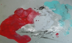 4 wolkenfresser, 2014, Monotypie über Lackskin auf Bütten, 20 x 30 cm