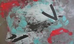 5 wolkensurfer, 2014, Monotypie, Collage über Lackskin auf Bütten, 20 x 30 cm