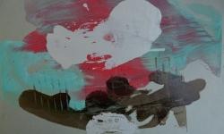 6 wolkenpflüger, 2014, Monotypie über Lackskin auf Bütten, 20 x 30 cm