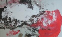 7 angora himmelskätzchen, 2014, Monotypie über Lackskin auf Bütten, 20 x 30 cm