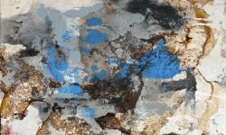 8 blau transzendent, 2014, Monotypie über Lackskin auf Bütten, 20 x 30 cm