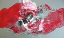 9 la belle et la bète, 2014, Monotypie über Lackskin auf Bütten, 20 x 30 cm