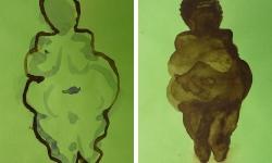 3 schöne dicke dame 5 + 6, 2010, Aquarell, 21 x 15 cm