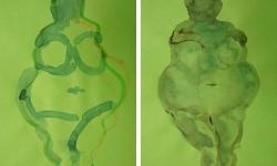 5 schöne dicke dame 9 + 10, 2010, Aquarell, 21 x 15 cm