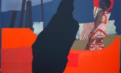 3 voyeur am fenster, 2008-12, Collage auf Pappe, aufgezogen auf Holz, 50 x 70 cm