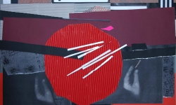 5 hartwurst, 2008-12, Collage auf Pappe, aufgezogen auf Holz, 50 x 70 cm
