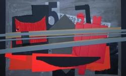 6 zwischen fünf uhr und galgen, 2008-12, Collage auf bemalter Pappe, aufgezogen auf Holz, 50 x 70 cm