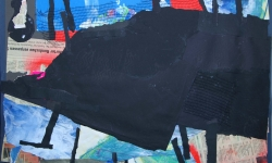 2 bouleversé, 2008-12, Collage über Malerei und Zeichnung auf Pappe, aufgezogen auf Holz, 50 x 70 cm