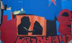 8 cyber love 2008-12, Collage auf Pappe, aufgezogen auf Holz, 50 x 70 cm