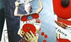 schaumbrüste in die tonne, 2006, 45 x 30 cm, Müllassemblage aus der Reihe Transitorische Projekte