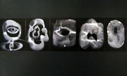 computer tomographie, 2000, Acryl auf Karton, 27 x 60 cm