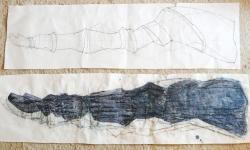 3 zeitröhre, 2006, 2 Zeichnungen (Entwürfe), 40 x 144 cm und 40 x 150 cm