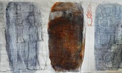6 zeitröhre, 2006, Zeichnung auf Papier (Ausschnitt rechts), 65 x 255 cm