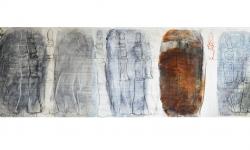 4 zeitröhre, 2006, farbig unterlegte Entwurfszeichnung für Skulptur, 2006, 65 x 255 cm