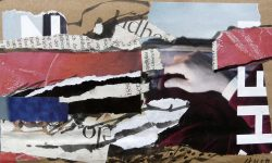 das händchen gottes, 2011, Collage mit Tuschestift und Acryl auf Packpapier, 13 x 18 cm
